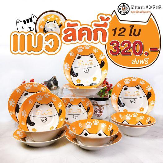 ชุดจานเซรามิก ลายแมวลักกี้ 12ใบ By ManaOutlet